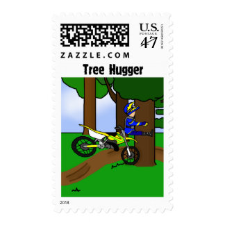Dirt Bike Tree Hugger Postage Stamp