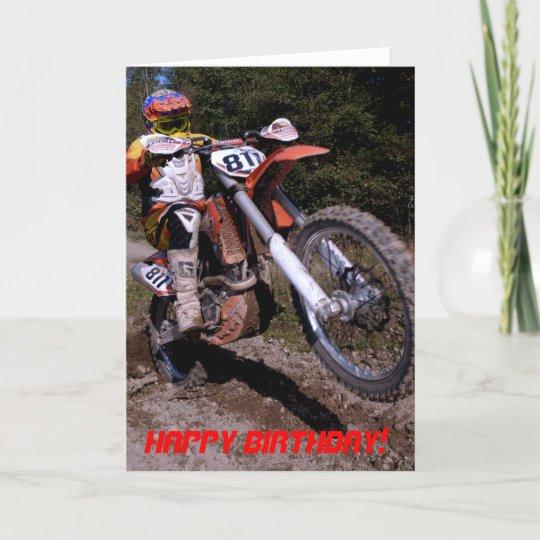 Dirt Bike Wheelie birthday card Zazzlecom
