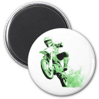 Dirt Bike Wheeling in Mud (Green) 2 Inch Round Magnet
