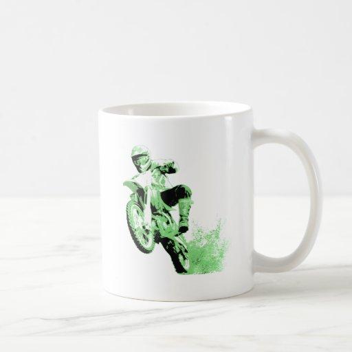 Dirt Bike Wheeling in Mud (Green) Classic White Coffee Mug