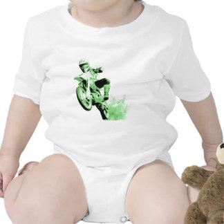Dirt Bike Wheeling in Mud (Green) Tshirt