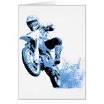 Dirt Bike Wheeling in the mud (Blue) Greeting Card