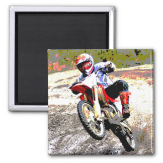 Dirt Bike Wheeling in the Mud in Color Magnet