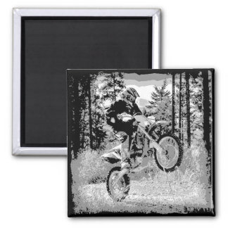 Dirt bike wheeling in the woods 2 inch square magnet