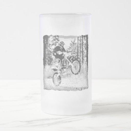 Dirt bike wheeling in the woods coffee mugs