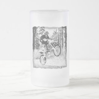 Dirt bike wheeling in the woods frosted glass beer mug