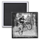 Dirt bike wheeling in the woods refrigerator magnets