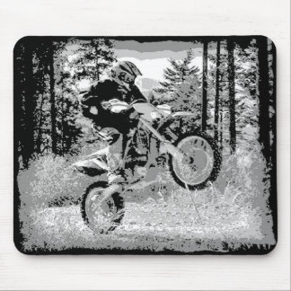 Dirt bike wheeling in the woods mouse pad