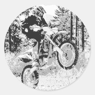 Dirt bike wheeling in the woods sticker