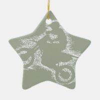 DIRT BIKE ( white scribble ) Ceramic Ornament