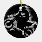 DIRT BIKE ( white scribble ) Ceramic Ornament