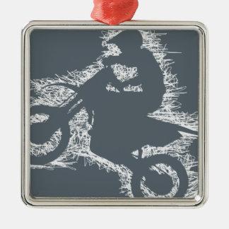DIRT BIKE ( white scribble ) Metal Ornament