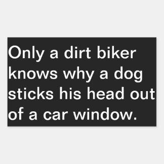 """""""Dirt biker hangs head out Window"""" Sticker"""