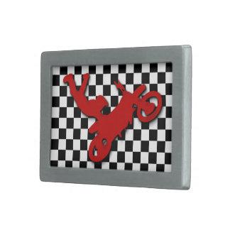 Dirt Biker on checkerboard pattern Rectangular Belt Buckle