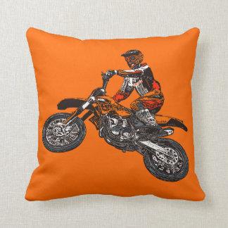 Dirt bikes throw pillow