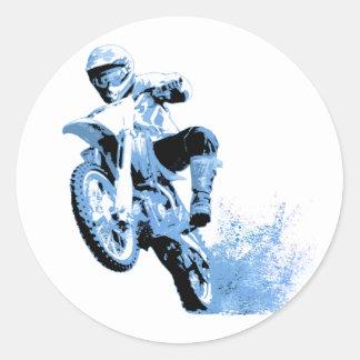 Dirt Biking wheeling in the Mud in Blue Classic Round Sticker