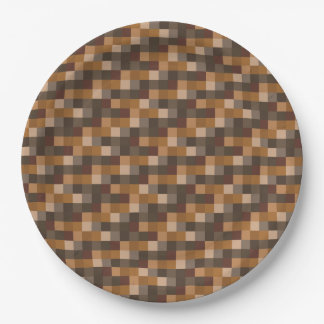 Dirt Brown Pixelated Pattern Paper Plate