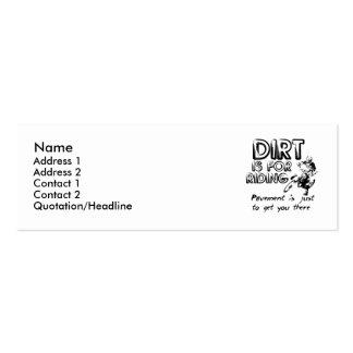 Dirt Is For Riding - Dirt Bike Motocross Profile Mini Business Card