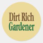Dirt Rich Gardener Round Stickers