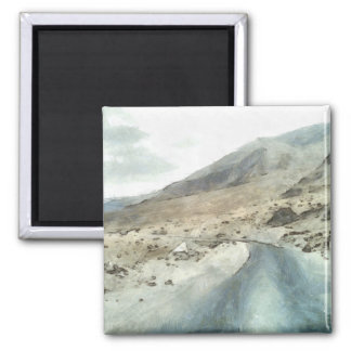 Dirt road in the Himalayas 2 Inch Square Magnet