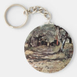 Dirt Road In The Olive Grove By Fattori Giovanni Keychains