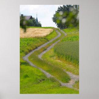 Dirt road to the church in Maulbronn Schmie D BW Print