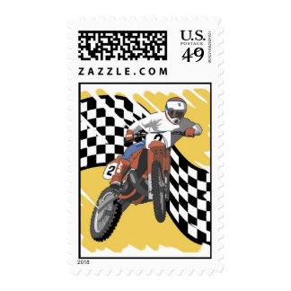 Dirtbike que compite con franqueo sellos postales