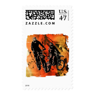 Dirtbiker Duo Red and Orange Grunge Postage