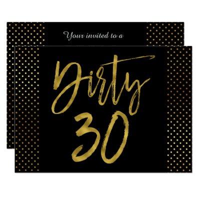 Dirty Thirty Black Gold Chevron Birthday Invite Zazzle Com
