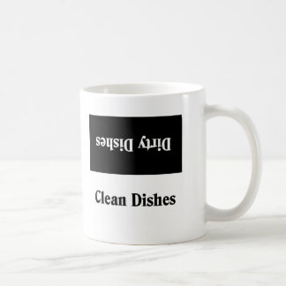 Dirty and clean dishes coffee mug