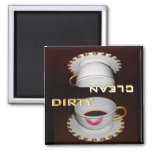 Dirty and Clean Dishwasher Fancy Dishes 2 Inch Square Magnet