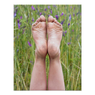 dirty bare feet in wildflowers poster