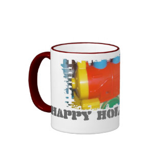 Dirty Border Ringer Mug_Happy Holidays Train Coffee Mug
