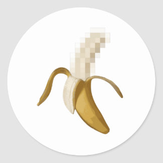 Dirty Censored Peeled Banana Classic Round Sticker