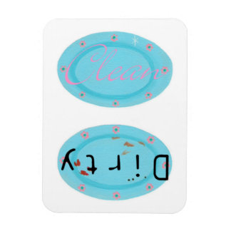 Dirty Clean Blue Plates Dishwasher Magnets