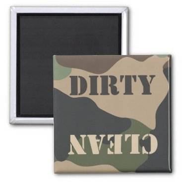 Dirty Clean Camouflage Woodland Camo Dishwasher Magnet