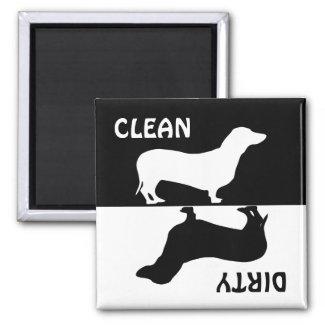 Dirty Clean Dachshund dog dishwasher magnet