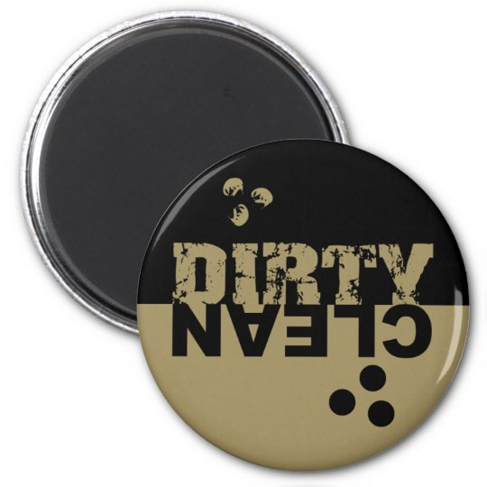 Dirty/Clean Dishwasher Magnet Black and Gold