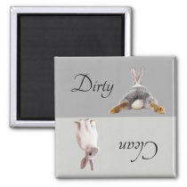 Dirty Clean Dishwasher Magnet Bunny Rabbit Tail