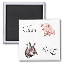 Dirty Clean Dishwasher Magnet Pig Farm Animal