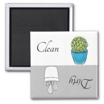 Dirty Clean Dishwasher Magnet Succulent Plant