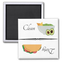 Dirty Clean Dishwasher Magnet Taco Avocado