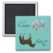 Dirty Clean Dishwasher Magnet Unicorn Horse