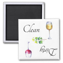 Dirty Clean Dishwasher Magnet Wine Red White