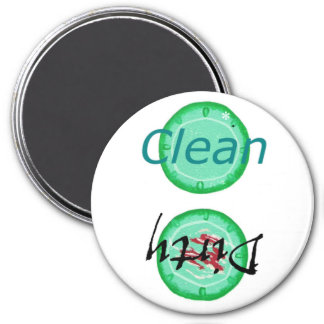 Dirty Clean Dishwasher magnets, green plates 3 Inch Round Magnet