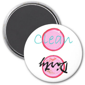 Dirty Clean Dishwasher magnets, pink plates 3 Inch Round Magnet