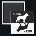 """Dirty Clean German Shepherd dog dishwasher magnet<br><div class=""""desc"""">German shepherd dirty,  clean dishwasher magnet in silhouette.  great gift idea for dog lovers</div>"""