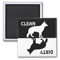 Dirty Clean German Shepherd dog dishwasher magnet