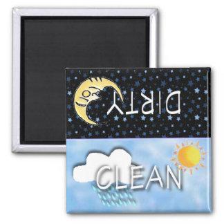 DIRTY-CLEAN MOON SUN MAGNET