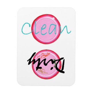 Dirty Clean Pink Plates Dishwasher Magnets